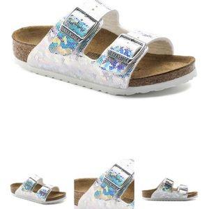 Birkenstock's - Arizona Silver Hologram Sandals